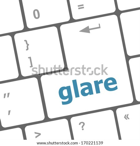 glare word on keyboard key, notebook computer button
