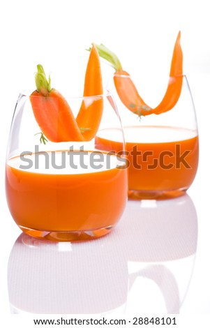 glases with carrot juice