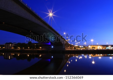 Glasgow bridge at night. - stock photo