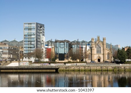 Glasgow city centre, including St. Andrew's Catholic Cathedral and the glass roofed St. Enoch Centre - stock photo