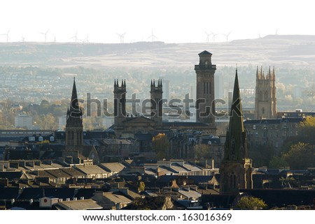 Glasgow City Skyline with towers and churches - stock photo