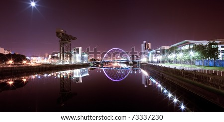 Glasgow Clyde, Arc Bridge Panorama - stock photo