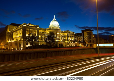 Glasgow Mitchell Library at Dusk with motorway car trails - stock photo