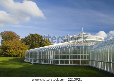 Glasgow's newly refurbished Kibble Palace in autumn sunshine - stock photo