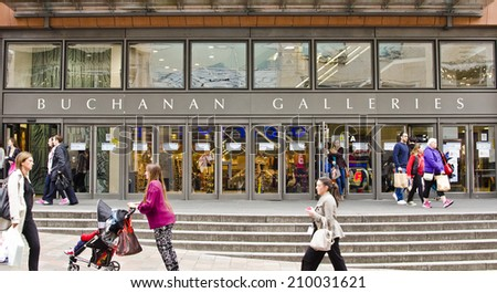 GLASGOW, SCOTLAND - APRIL 16: Buchanan Galleries shopping centre on April 16, 2014 in Glasgow, Scotland. Glasgow is the largest city in Scotland, with a population of 599,000 in the city. - stock photo