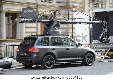 GLASGOW, SCOTLAND - AUGUST 20: A mobile camera crane sits on the streets of Glasgow for the filming of World War Z on August 20, 2011 in Glasgow, Scotland. The location is transformed to look like Philadelphia.