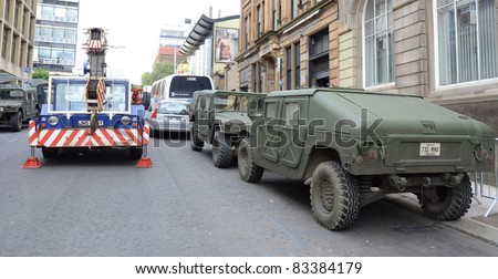 GLASGOW, SCOTLAND - AUGUST 20: The streets of Glasgow are transformed to look like Philadelphia for the filming of World War Z on August 20, 2011 in Glasgow, Scotland.