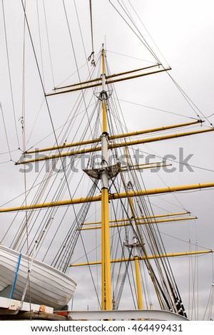 GLASGOW, SCOTLAND - JULY 16, 2016: Tall Ship Glenlee from Govan, Riverside Museum, Glasgow Museum of Transport.