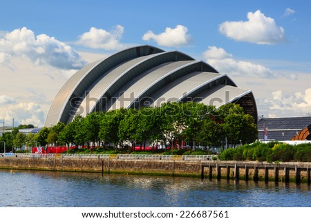 GLASGOW, SCOTLAND - JULY 28:  The Clyde Auditorium on the banks of the River Clyde in Glasgow, Scotland pictured on July 28, 2014.  The auditorium is a conference venue and is nicknamed the armadillo.