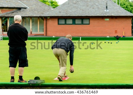 GLASGOW, SCOTLAND - JUNE 13, 2016: Bowling greens at Kelvingrove in central Glasgow. This was a venue for the 2014 Commonwealth Games.