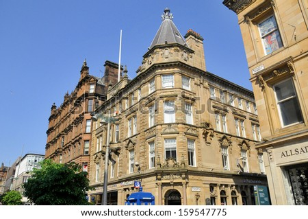 GLASGOW SCOTLAND MAY 27: Typical Glasgow building on May 27 2012 in Glasgow Scotland Glasgow is the largest city in Scotland and third most populous in the United Kingdom - stock photo