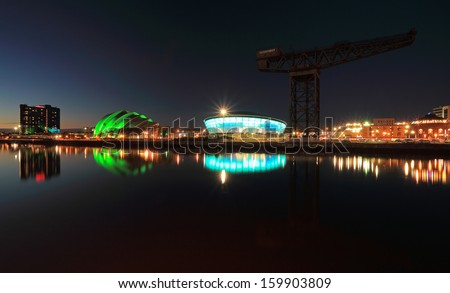 GLASGOW, SCOTLAND - OCTOBER 24: the Hydro Arena and Clyde Auditorium reflecting on the River Clyde on October 24, 2013 in Glasgow, Scotland. The Hydro Arena  opened in October 2013.