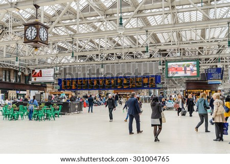 GLASGOW, SCOTLAND, UK - JUNE 03, 2015: The passenger concourse of the main rail terminus in Scotland at Glasgow Central Station. - stock photo