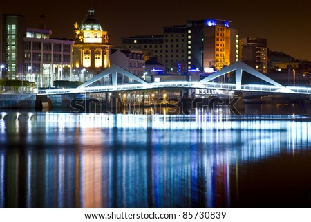 Glasgow Squiggly Bridge - stock photo