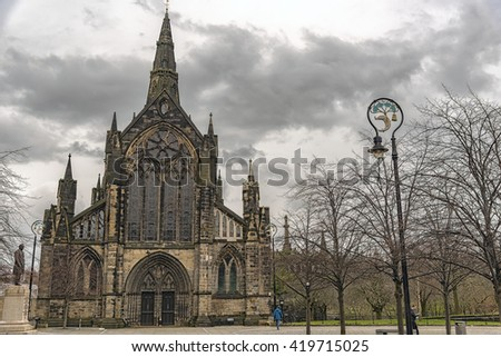 Glasgow St Mungo's Cathedral. Founded in the 12th century it was one of the few Scottish church buildings to survive the Reformation relatively unscathed. - stock photo