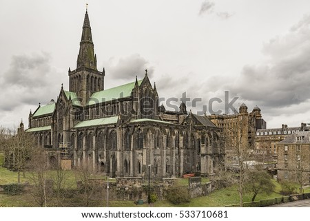 Glasgow St Mungo's Cathedral viewed from the city's Necropolis graveyard. Founded in the 12th century it was one of the few Scottish church buildings to survive the Reformation relatively unscathed.