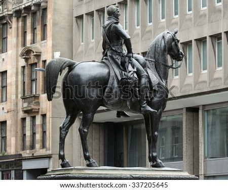 GLASGOW, UK - JULY 6: This statue of the Duke of Wellington stands outside the Gallery of Modern Art in Glasgow. Designed by Marochetti, a well established sculptor of the Victorian era.