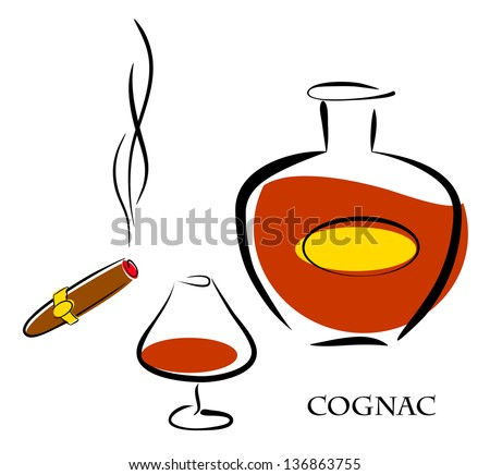 Glass and bottle of luxury cognac with best tobacco cigar for high quality lifestyle. Raster illustration. Vector file included in portfolio - stock photo