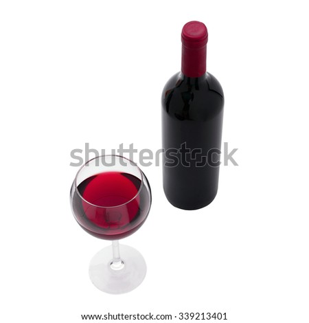 Glass and bottle of red wine. Flat mock up for design. Top view unusually on white background. - stock photo