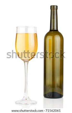 Glass and bottle of white wine. White background. - stock photo
