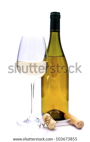 glass and bottle of white wine with cork and corkscrew isolated on a white background - stock photo