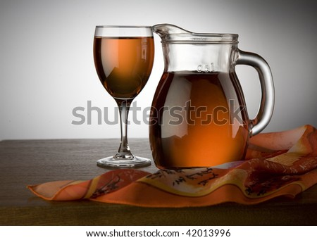 Glass and Jug with wine