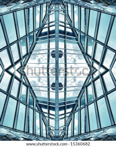 glass and metal modern design architecture - stock photo