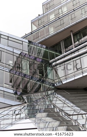 glass and metal structure of a business building