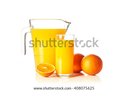 glass and pitcher of orange juice isolated on white background - stock photo