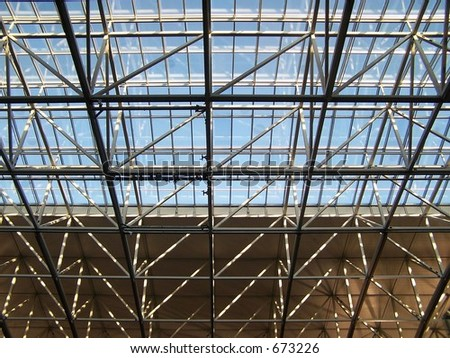 Glass and steel roof structure