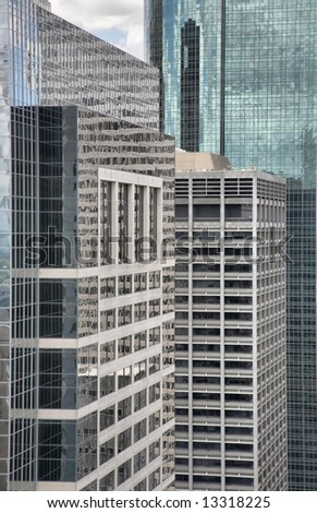 Glass and Steel Skyscrapers in Downtown Houston, Texas(Release Information: Editorial Use Only. Use of this image in advertising or for promotional purposes is prohibited.) - stock photo