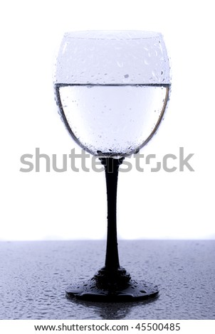 Glass and water drops isolated