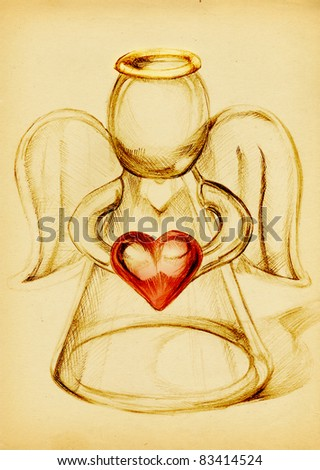 Glass Angel with a red heart in hand, pencil drawing on yellow paper - stock photo