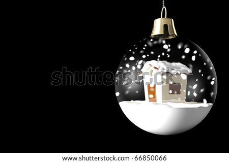 Glass ball Christmas with a little house and snow on a black background - stock photo
