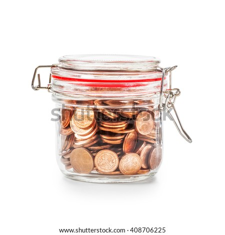 Glass bank jar with coins isolated on white background. Saving money concept. Single object with clipping path - stock photo