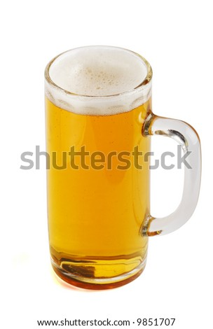 Glass beer mug with beer. Object over white. Variant two.