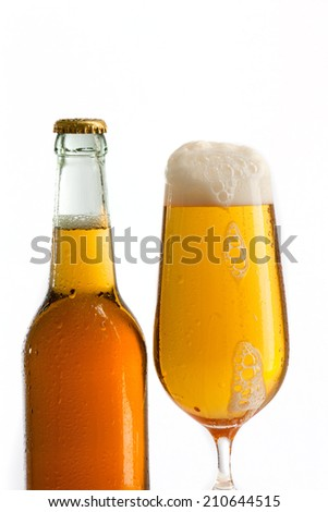 Glass beer with foam
