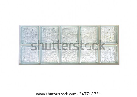 Glass block window on white background