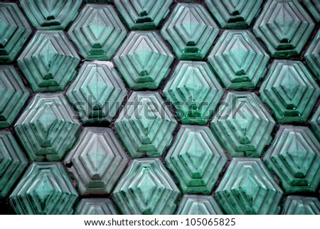 Glass Blocks in green - stock photo