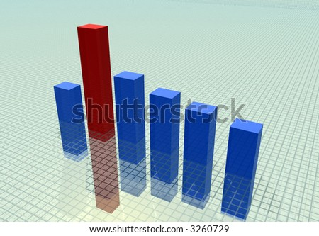 Glass blocks of the diagram on a surface leaving in infinity - stock photo
