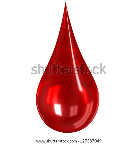Glass blood drop isolated on white - stock photo