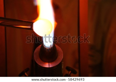 Glass Blowing Closeup - stock photo