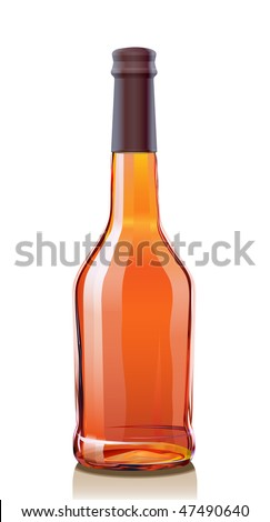 Glass Bottle for Cognac or Brandy. Serie of images. - stock photo