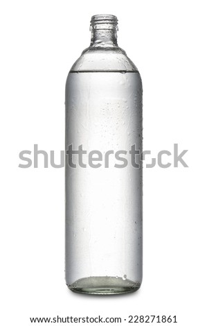 glass bottle full of natural water covered with drops, on white background