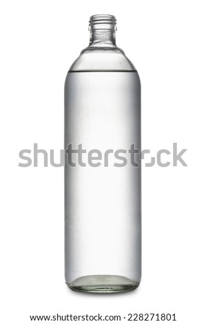 glass bottle full of natural water, on white background - stock photo