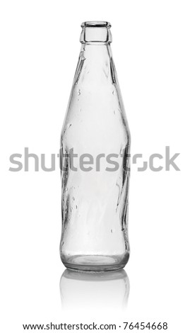 Glass bottle isolated on a white background. Path