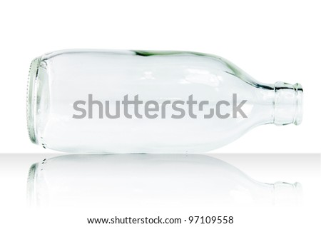 Glass bottle no white background with reflex - stock photo