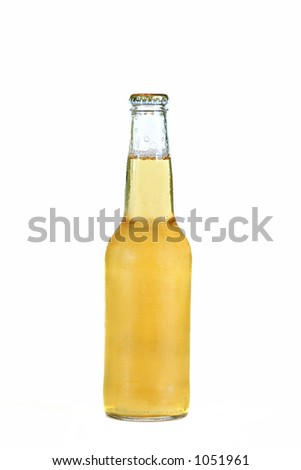glass bottle of cold beer isolated on white