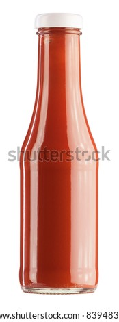 Glass bottle of ketchup - stock photo