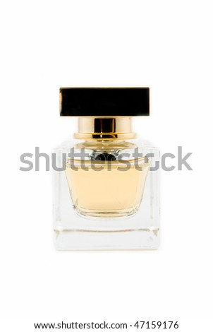 glass bottle of perfume on a white background